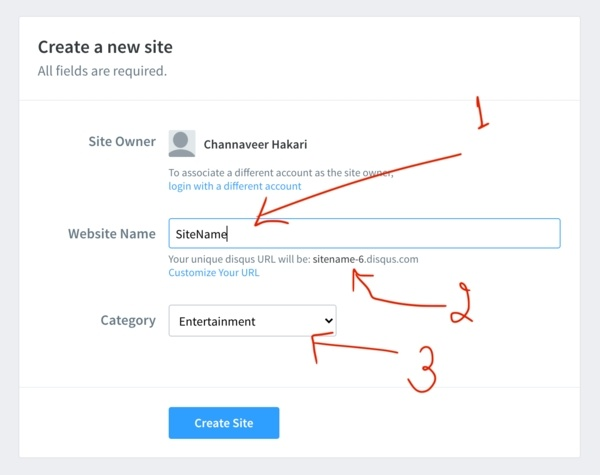 Disqus Add Website Name