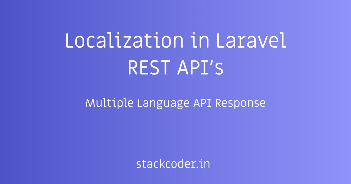 Localization in Laravel REST API's