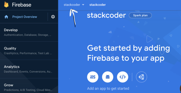 Select Proper Project | Firebase Dashboard
