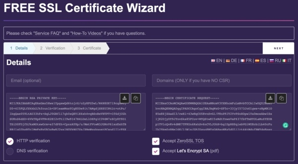 Account Keys (Private Key & Certificate)