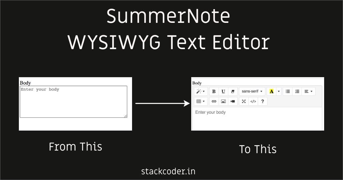 SummerNote WYSIWYG Editor | StackCoder