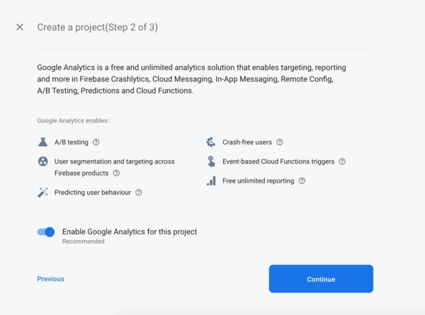 Firebase New Project | Step 2