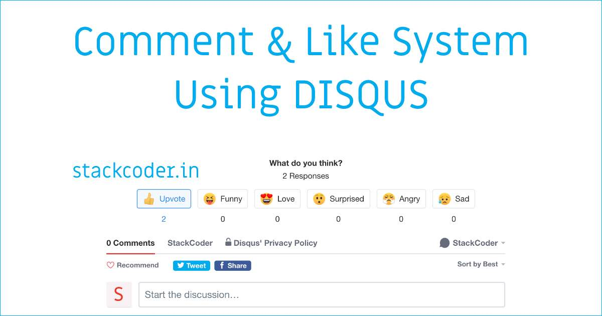 Comment And Like System Using DISQUS | StackCoder