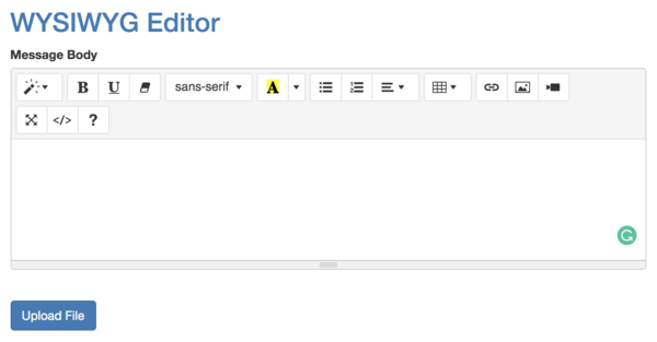 SummerNote Text Editor Default View